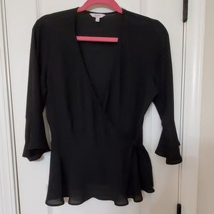 Wrap Blouse with 3/4 Ruffle Sleeves